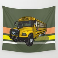 school Wall Tapestries featuring School bus by mangulica illustrations