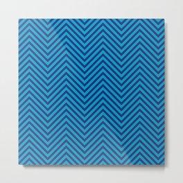 Bondi Blue on Blue Chevron Wave Pattern Metal Print