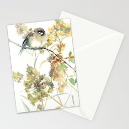 Sparrow and Dry Plants, fall foliage bird art bird design old fashion floral design Stationery Cards