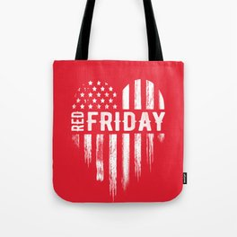 Red Friday Distressed USA Heart Military Tote Bag