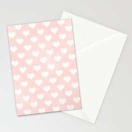 Pink Coral Love Hearts Stationery Cards