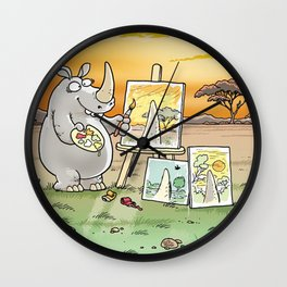 Rhino The Artist Wall Clock