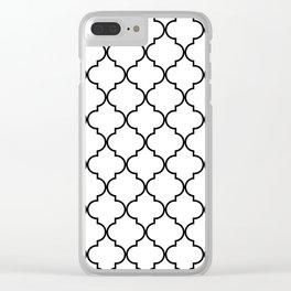 Quatrefoil - White and Black Clear iPhone Case