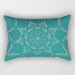 Dot Mandala Dark Green- 3D Pointilism Rectangular Pillow