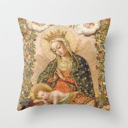 The Virgin Adoring the Christ Child with Two Saints Throw Pillow