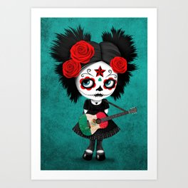 Day of the Dead Girl Playing Mexican Flag Guitar Art Print