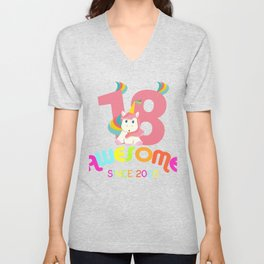 Awesome Since 2000 Unicorn 18th Birthdays Anniversaries Unisex V-Neck