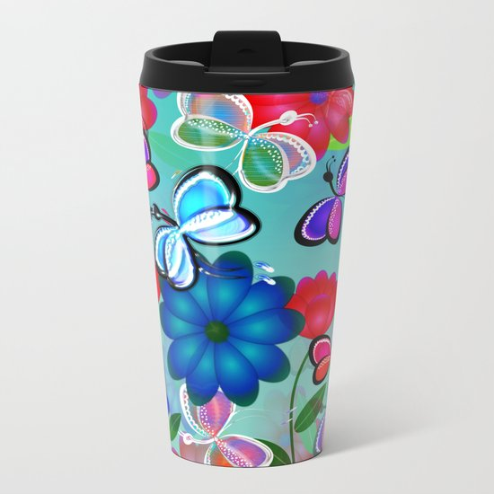 Abstract Butterflies with Flowers (Blue) Metal Travel Mug