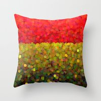 gold glitter Throw Pillows featuring Sparkle Glitter Red Gold by Saundra Myles