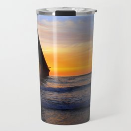 Scripps Pier - Sunset Splash Travel Mug
