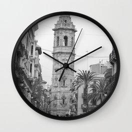 Black White Architecture in Valencia Wall Clock