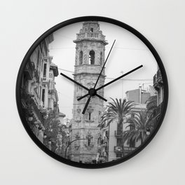 Black White Architecture in Valencia Wall Clock