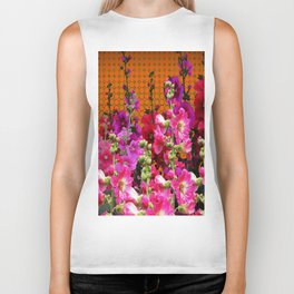 SPICE BROWN  PINK HOLLYHOCKS GARDEN Biker Tank