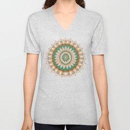 Hand-Drawn Bohemian Mandala Turquoise & Rust Unisex V-Neck