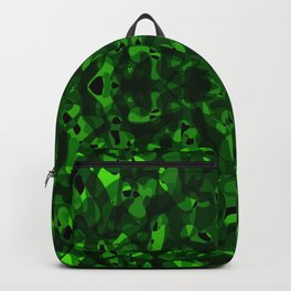 Brilliant ornament of green spots and velvet blots on black. Backpack