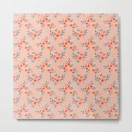 Hand painted orange teal watercolor peonies flowers Metal Print