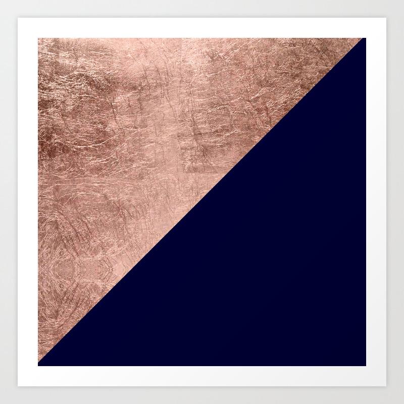 Minimalist rose gold navy blue color block geometric Art Print by ...