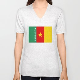 Cameroon country flag name text Unisex V-Neck