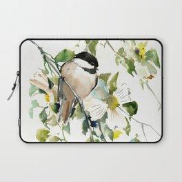 chickadee and dogwood, chickadee art design floral Laptop Sleeve