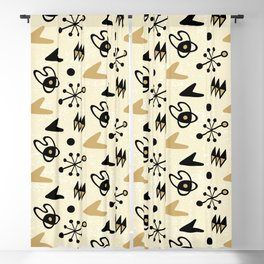Mid Century Modern Atomic Boomerang Pattern Gold 102 Blackout Curtain