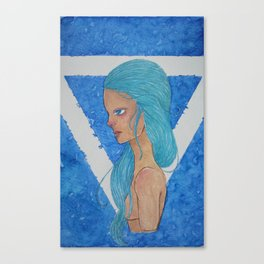 Element Series - Water Spirit, Water is Life, Blue Hair Anime Canvas Print