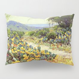 Yellow and Red Cactus Blossoms in the Desert Landscape painting by Robert Julian Onderdonk Pillow Sham