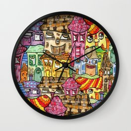Suburbia watercolor collage Wall Clock