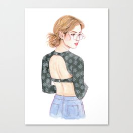 Girl with glasses, fashion, girl drawing, watercolor painting Canvas Print