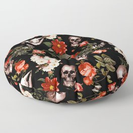Floral and Skull Dark Pattern Floor Pillow