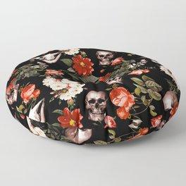 Floral and Skull Dark Pattern Floor Pillow