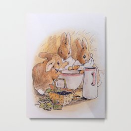 Peter Rabbit with his parents Metal Print