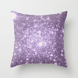 Lilac Galaxy Sparkle Stars Throw Pillow