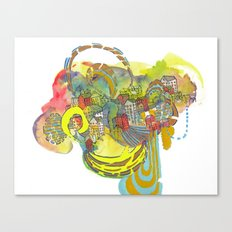 Floating Village Abstract Watercolor Painting Illustration Canvas Print