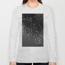 Dark Gray Black Lady Glitter #1 #shiny #decor #art #society6 Long Sleeve T-shirt