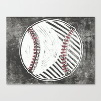 baseball Canvas Prints featuring Baseball by Peter Dunne