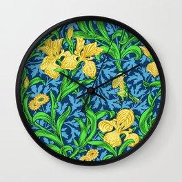 William Morris Irises, Yellow and Cobalt Blue Wall Clock