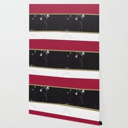 Marble Mix Stripes #2 #black #white #red #gold #decor #art #society6 Wallpaper