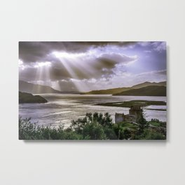 Sun Rays over Eilean Donan Castle Metal Print