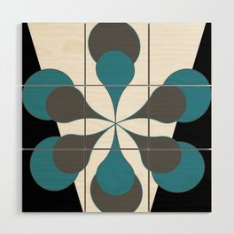 Mid-Century Modern Art 1.4B Grey Aqua Flower Wood Wall Art