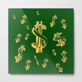 FLOATING GOLDEN DOLLARS IN GREEN ART DESIGN Metal Print