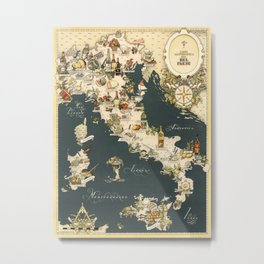 Gastronomic Map of Italy 1949 Metal Print