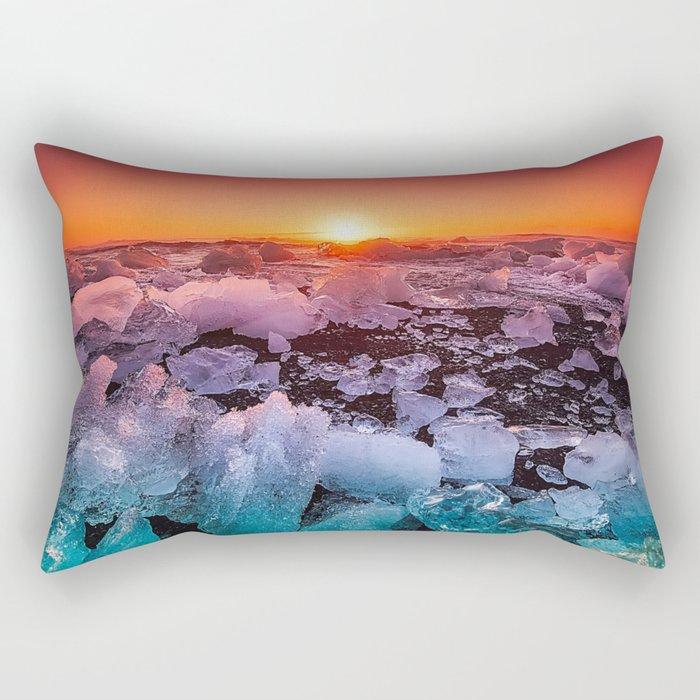 Ice of Antarctica's Sunset Rectangular Pillow