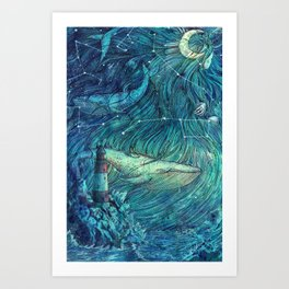 Moonlit Sea Art Print