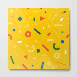 Almost Friday - pattern yellow Metal Print