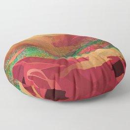 """Tropical golden sunset over fantasy pink forest"" Floor Pillow"