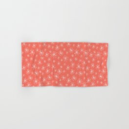 Loopy Flowers - white on coral Hand & Bath Towel