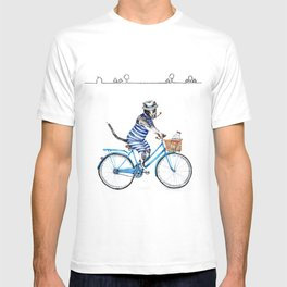 Cat on a Blue Bicycle T-shirt