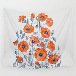 Poppies botanical art Wall Tapestry