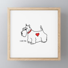 Scottie Dog-I love you! (b/w-red heart) Framed Mini Art Print