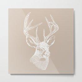 Deer Bust in White Metal Print